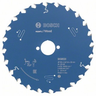 Циркулярен диск Expert for Wood BOSCH, 190 mm